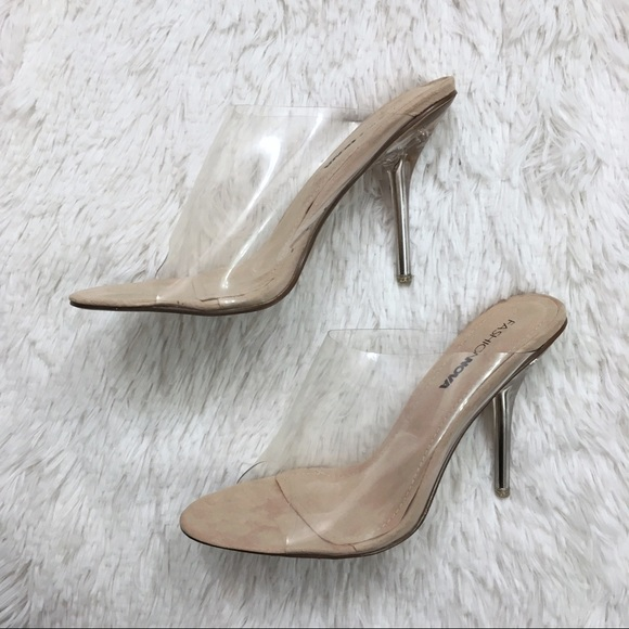 538861c2ccf Fashion Nova Clear Peep Toe Transparent Heels 8.5